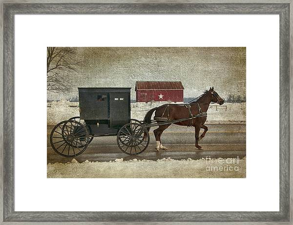Amish Horse And Buggy And The Star Barn Framed Print