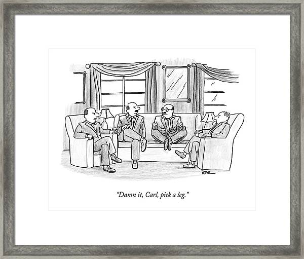 Among Three Other Men With Their Legs Crossed Framed Print