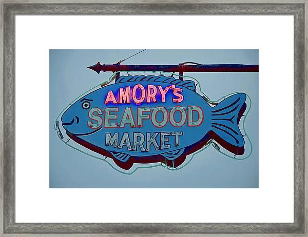 Amory Seafood Sign Framed Print