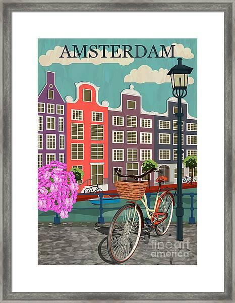 Amsterdam City Background Framed Print