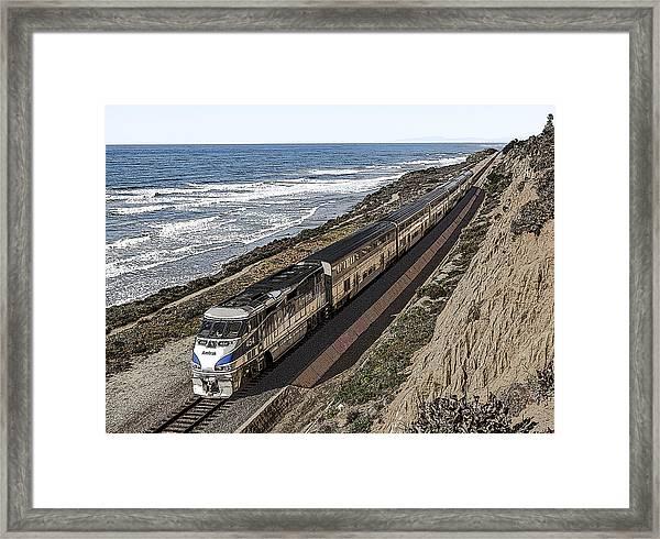 Amtrak By The Ocean Framed Print