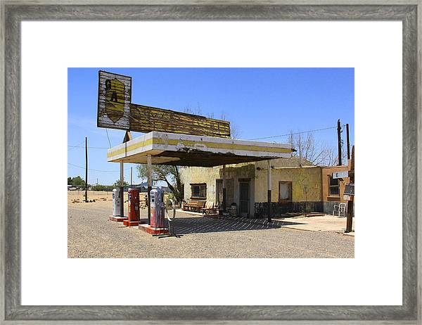 An Abandon Gas Station On Route 66 Framed Print