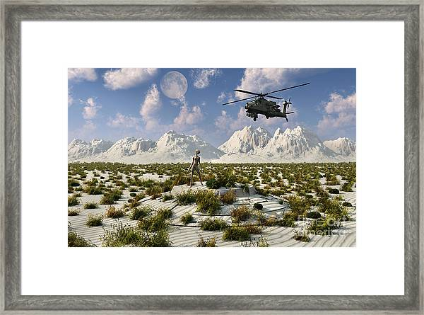 An Ah-64 Apache Black Ops Helicopter Framed Print