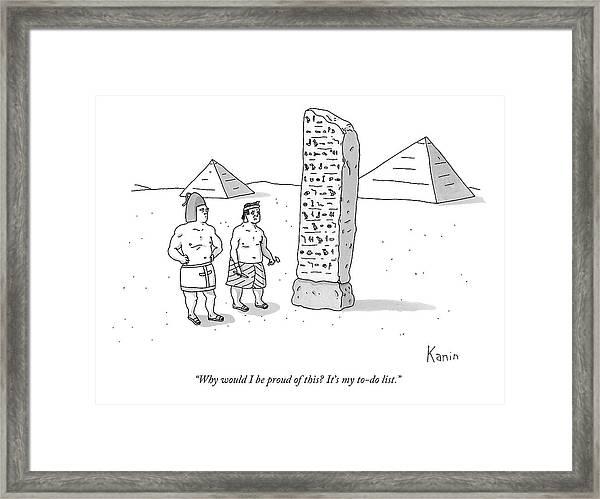 An Ancient Egyptian Mason Describes An Obelisk Framed Print