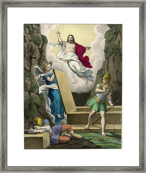 An Angel Lifts The Slab  Covering Framed Print