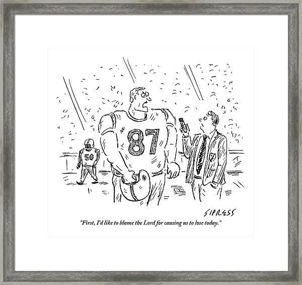 An Angry Football Player Is Being Interviewed Framed Print