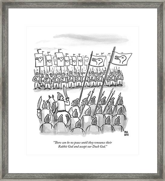 An Army Lines Up For Battle Framed Print
