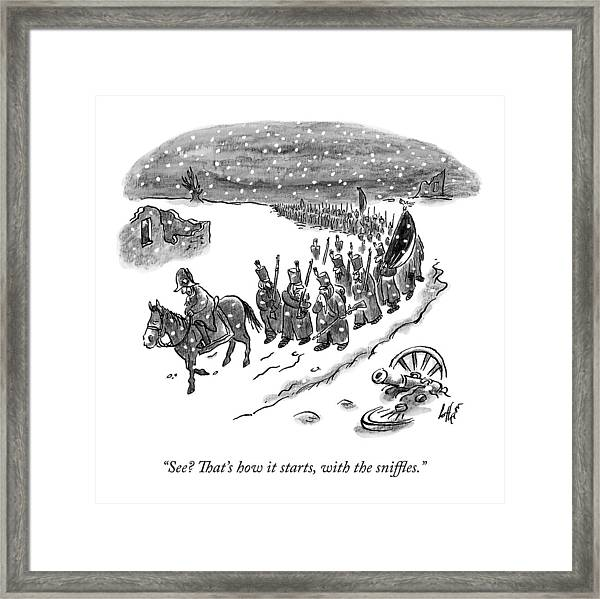 An Army Of Napoleonic Soldiers Walk Home Though Framed Print