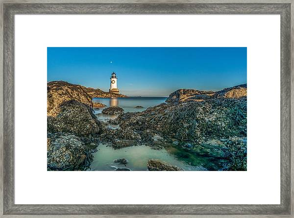 An Early Moon Over Fort Pickering Light Salem Ma Framed Print