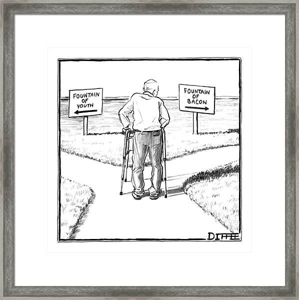An Elderly Man Is Seen Standing Next To Two Arrow Framed Print