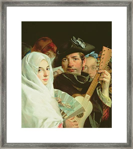 An Elegant Couple From Madrid, C.1770 Oil On Canvas Framed Print