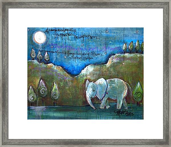 Framed Print featuring the painting An Elephant For You by Laurie Maves ART
