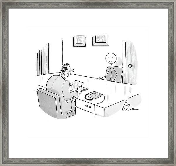 An Employer Interviews A Stick Figure Framed Print