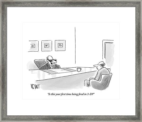 An Executive Behind A Desk Framed Print
