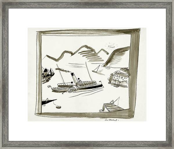 An Illustrated Depiction Of Switzerland Framed Print by Ludwig Bemelmans