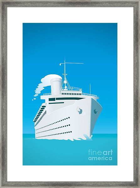 An Image Of A White Cruise Ship And The Framed Print