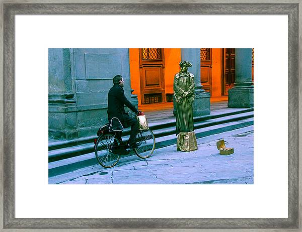 An Odd Conversation Framed Print