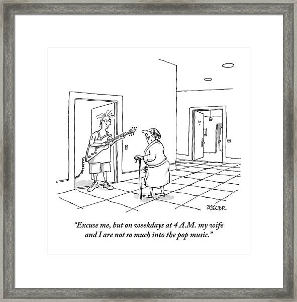 An Old Man In A Bathrobe Addresses A Young Man Framed Print