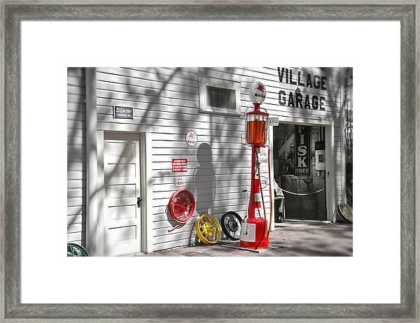 An Old Village Gas Station Framed Print