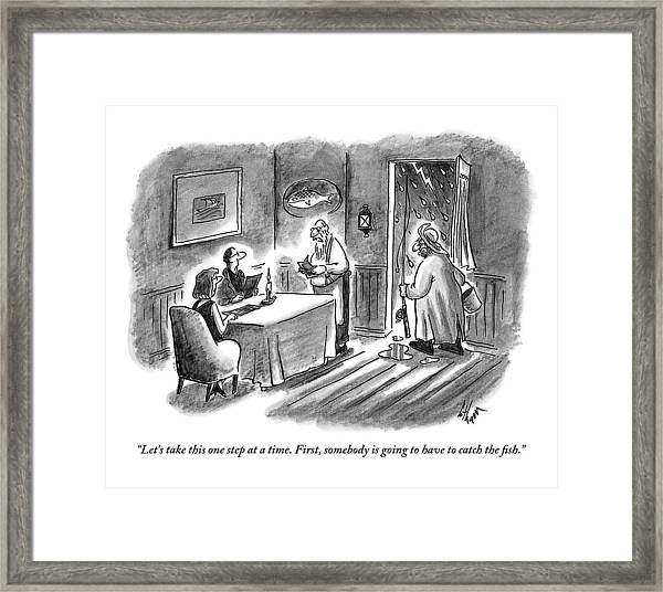 An Old Waiter Taking The Orders Of A Couple Framed Print