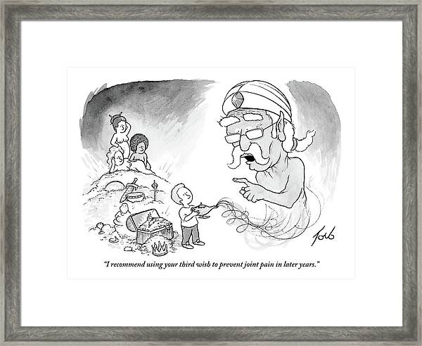 An Older Genie Speaks To Young Boy As He Emerges Framed Print