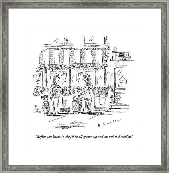 An Older Woman Talks To A Middle Aged Woman Framed Print