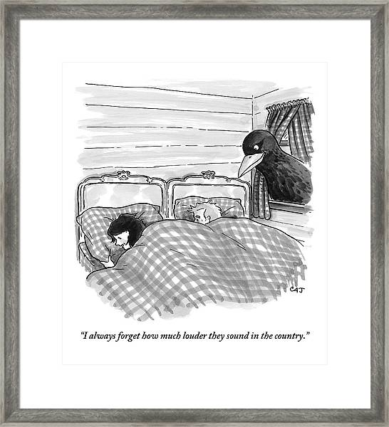 An Overly Large Bird Peers Into The Bedroom Framed Print