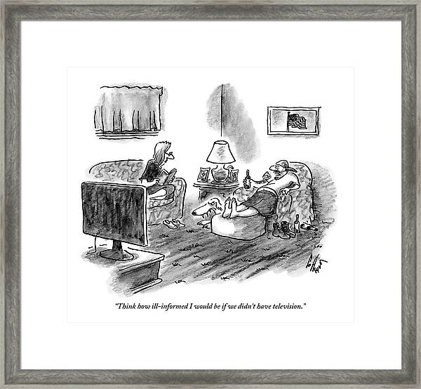 An Overweight Man Lazily Reclines On His Sofa Framed Print