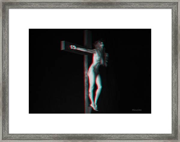 Anaglyph Dark Crucifix Framed Print