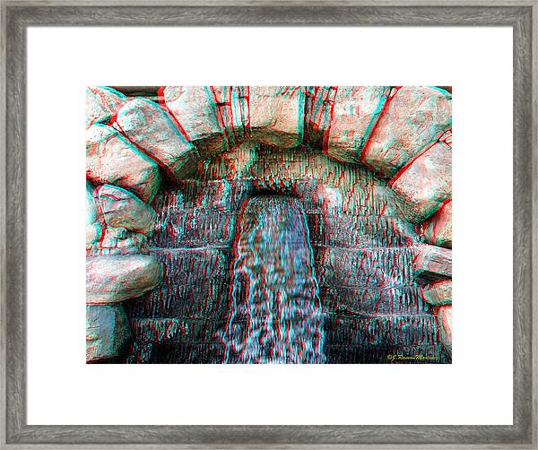 Anaglyph Fountain Framed Print