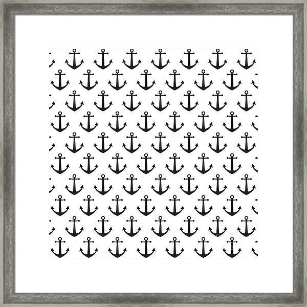 Anchor Pattern Background Framed Print