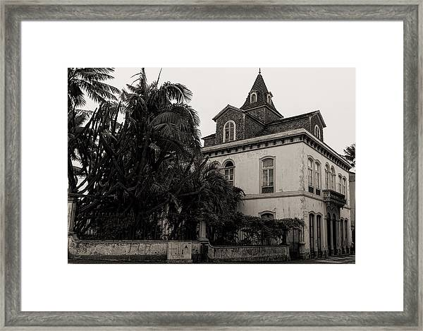 Ancient Hotel And Lush Trees  Framed Print