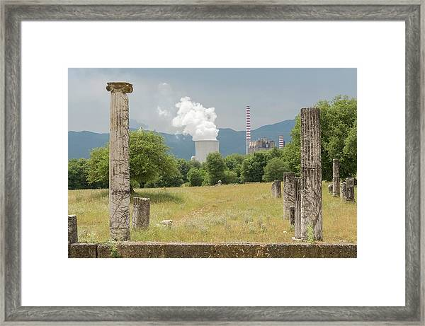 Ancient Megalopolis And Coal Powerplant. Framed Print by David Parker/science Photo Library
