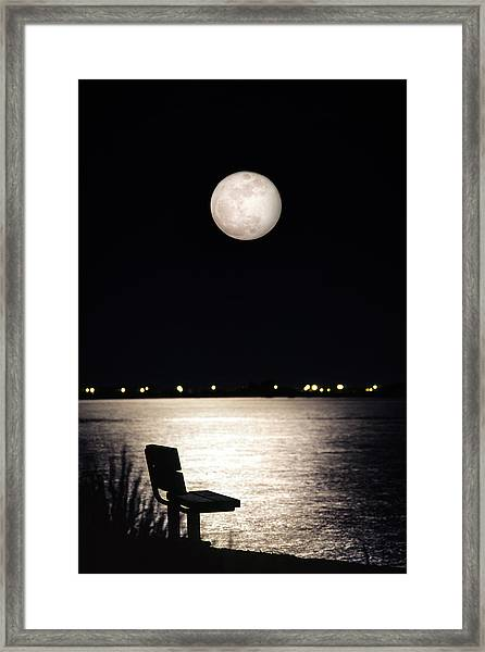 And No One Was There - To See The Full Moon Over The Bay Framed Print