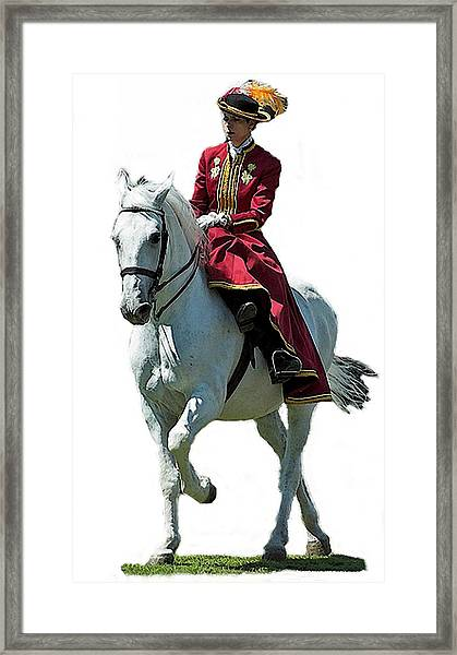 Andalusian Sidesaddle Horse  Framed Print by Olde Time  Mercantile