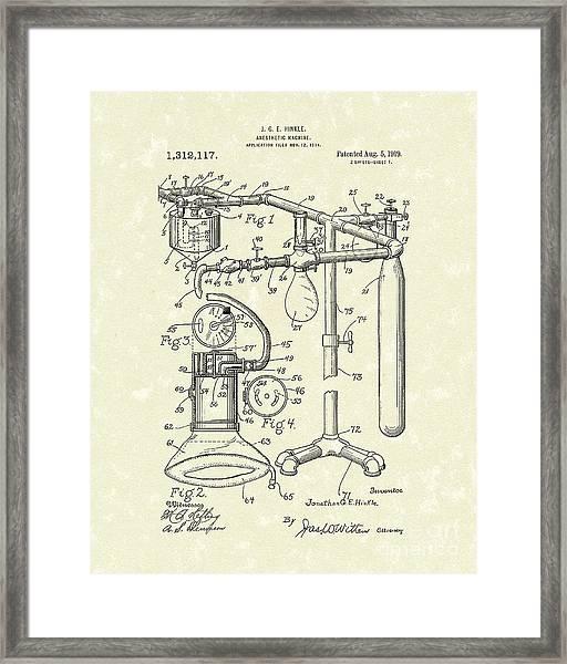 Anesthetic Machine 1919 Patent Art Framed Print