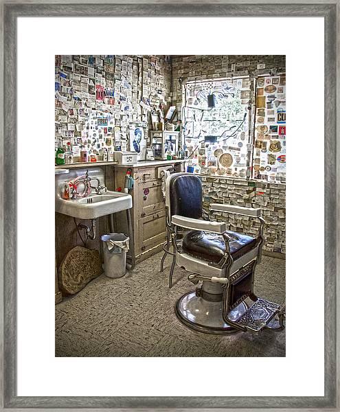 Angel Delgadillo's Barber Shop Framed Print