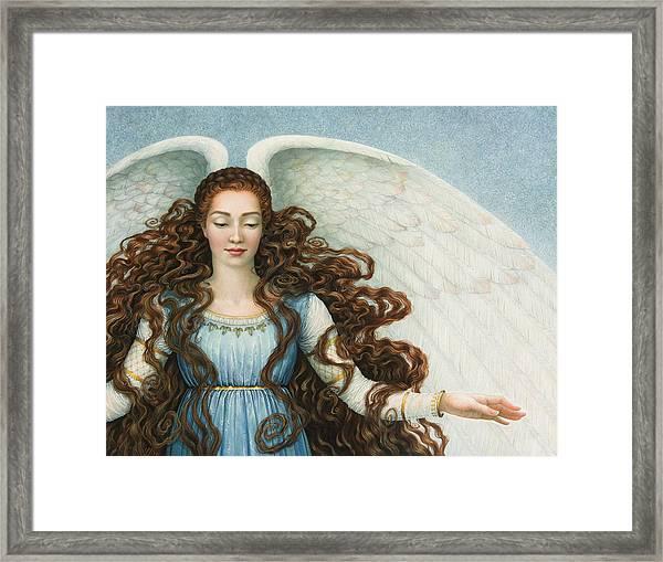 Angel In A Blue Dress Framed Print