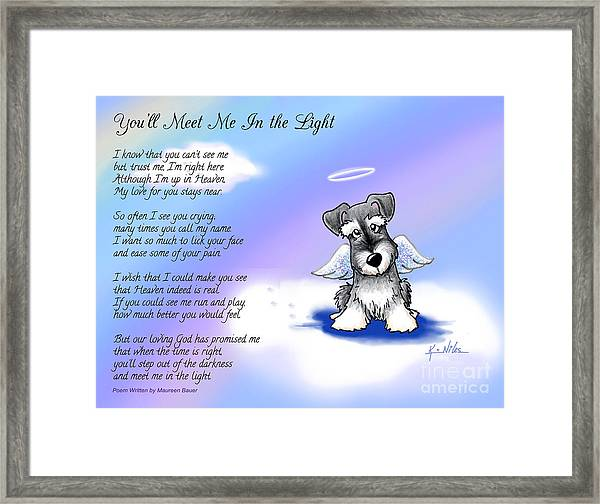 Angel Schnauzer With Poem Framed Print by Kim Niles