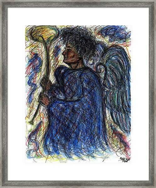 Angel With Horn Framed Print