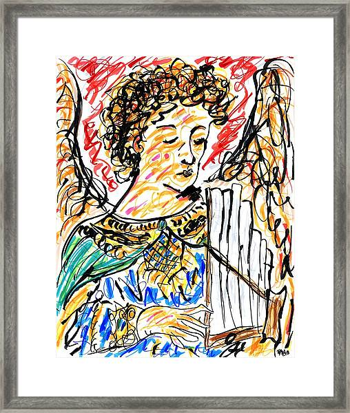 Angel With Pipes - Final Framed Print