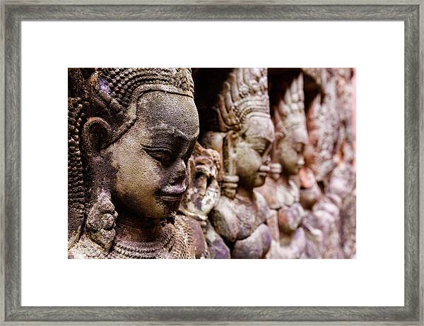 Angkor Wat Temple Wall Faces Detail Framed Print