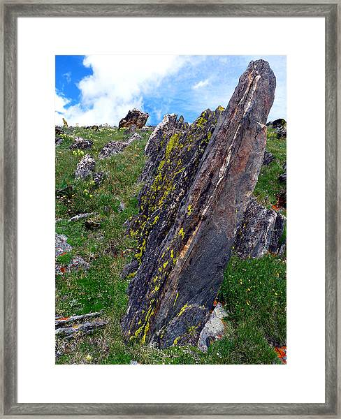 Angled Rocks With Lichen Framed Print