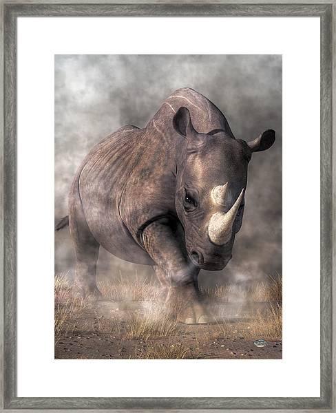 Angry Rhino Framed Print