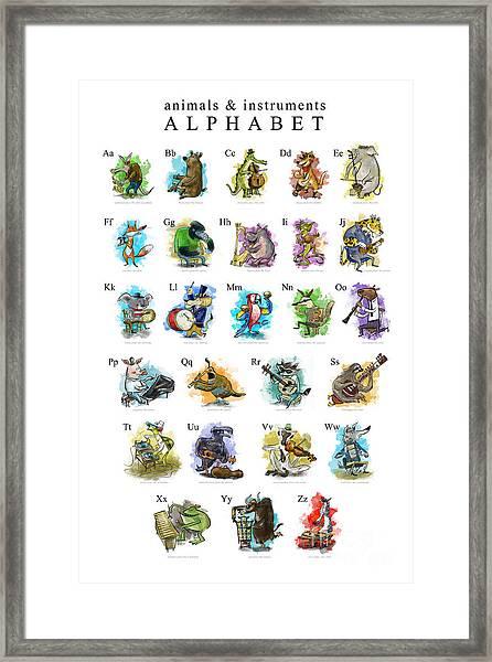 Animals And Instruments Alphabet Framed Print