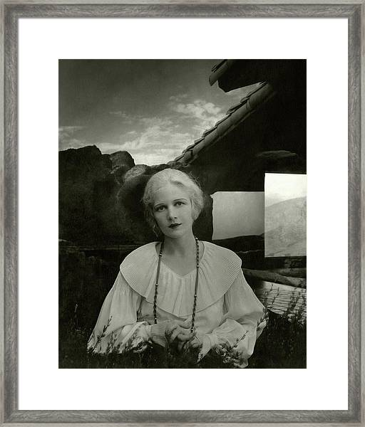 Ann Harding Wearing A Blouse Framed Print by Edward Steichen