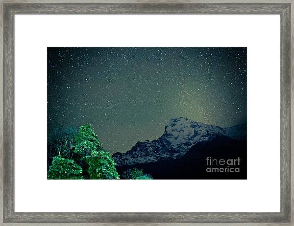 Framed Print featuring the photograph Annapurna At Night Sky In Himalayas Mountain Nepal 2014 Artmif.lv by Raimond Klavins
