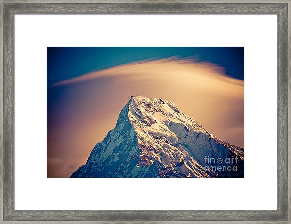 Framed Print featuring the photograph Annapurna South At Sunrise In Himalayas Artmif Photo Raimond Klavins by Raimond Klavins