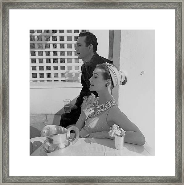 Anne Gunning Parker Sitting With A Man Framed Print