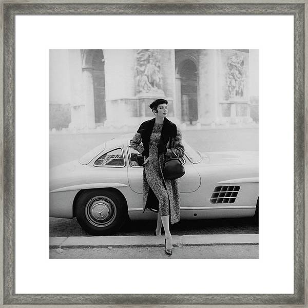 Anne St. Marie By A Mercedes-benz Car Framed Print